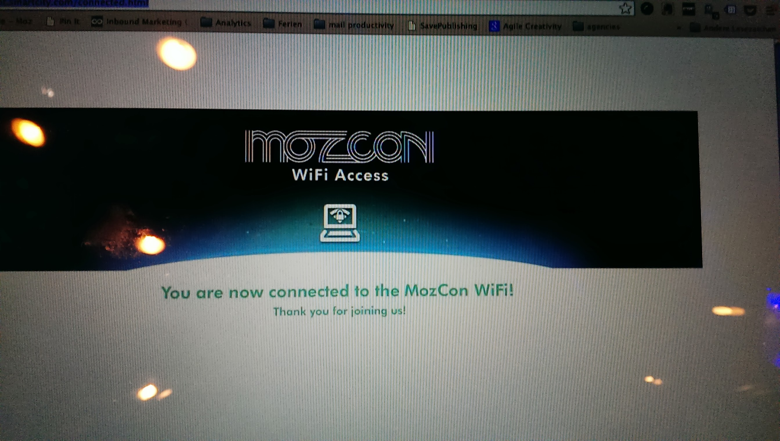 Connected to MozCon Wifi
